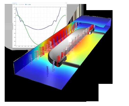 음극과 양극에서 버틀러-볼머 반응식을 이용하여 2차 전류 분포로 가정한 전기 도금. 위 그래프는 부품의 앞/뒤쪽 면에서 도금된 두께를 보여줍니다.