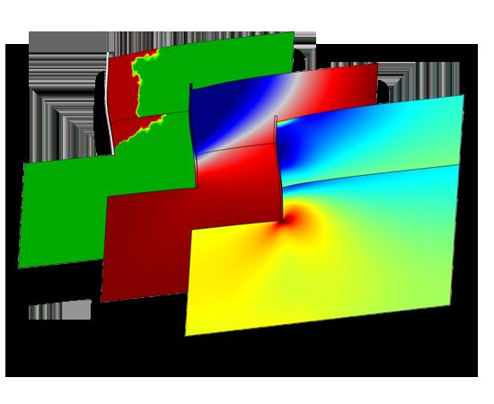 지반의 굴착작업 시 나타나는 수평방향응력, 변위, 그리고 소성영역을 표현하였습니다. Drucker-Prager 소성 모델이 해석에 사용됩니다.