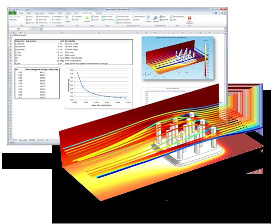 전기회로에서 부품의 냉각에 사용되는 알루미늄 방열판의 파라메트릭 시뮬레이션. 기하학적 치수뿐만 아니라 유입되는 공기의 속도를 제어하는 파라미터는 Excel 스프레트시트에서 수정되고 COMSOL Multiphysics와 동기화 됩니다. 후처리된 COMSOL모델은 그림과 같이 스프레드시트로 가져올 수 있습니다.